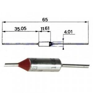 Tepelná pojistka 77°C axiální nevratná 10A/250V CE