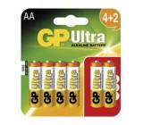 Alkalická baterie GP Ultra LR6 (AA), 4+2 ks v blistru