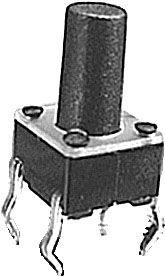 Mikrospínač 6x6mm v=9,5mm 12V/50mA