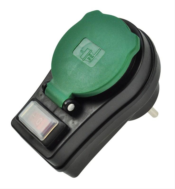 SOLIGHT Zásuvka průběžná IP44, 16A, černá, vypínač, kryt zásuvky