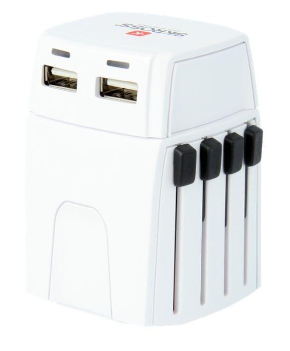 SOLIGHT SKROSS MUV Micro USB cestovní adaptér, 2.5A max., vč. USB nabíjení 2x výstup s LED indikací - 2100mA, univerzální pro 150 zemí