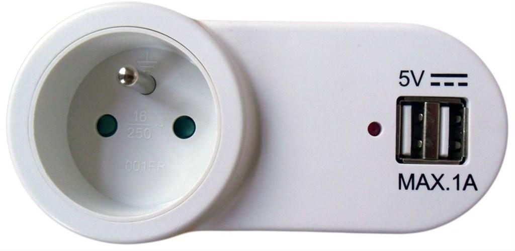 SOLIGHT USB nabíjecí adaptér s průběžnou zásuvkou, 2x USB, 1000mA max., bílý