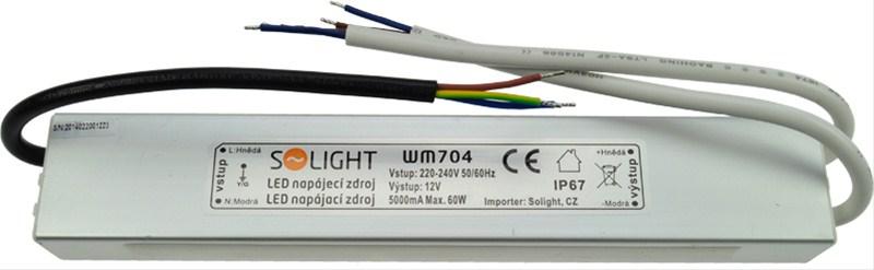 SOLIGHT LED napájecí zdroj, 230V - 12V, 5A, 60W, IP67