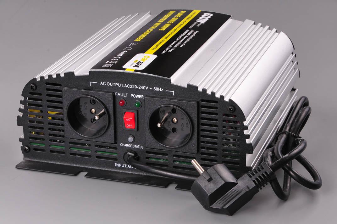 CARSPA měnič+dobíječka z 24V DC na 230V AC 600W sinus