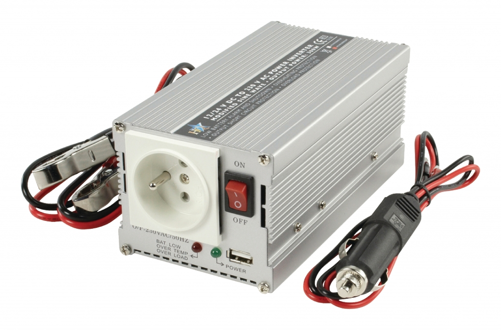 HQ Měnič napětí 24 - 230 V 300 W s USB