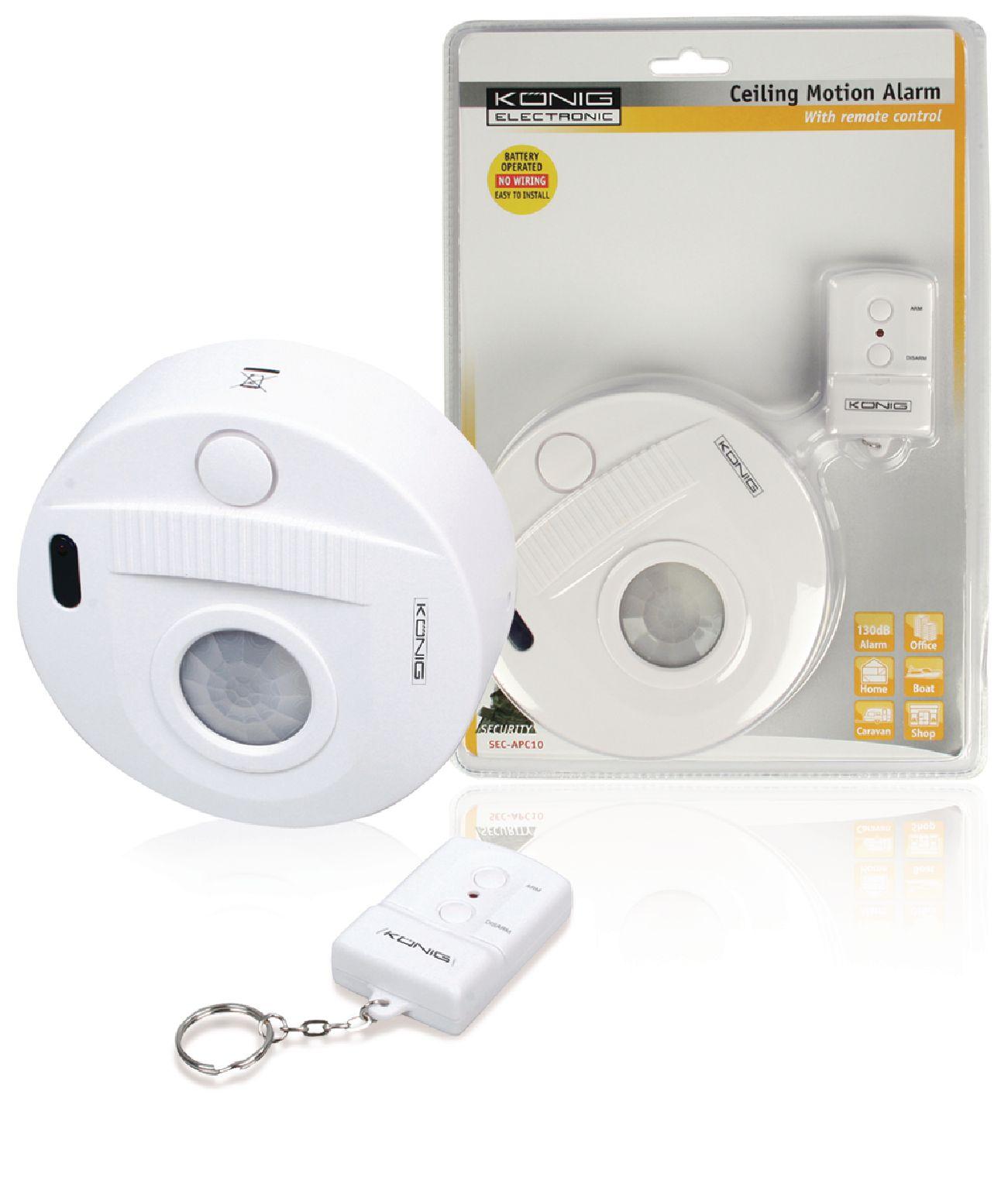 KoNIG Stropní PIR alarm s dálkovým ovladačem