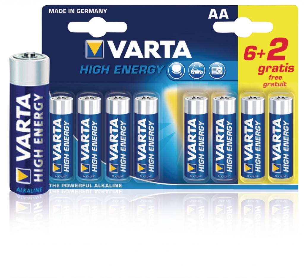 VARTA Baterie 1.5v lr6 high energy 6+2ks - varta