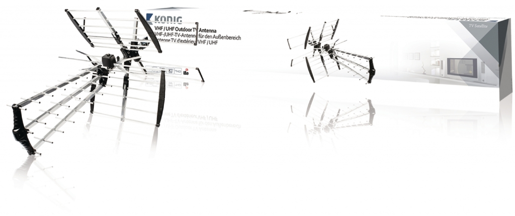 KoNIG VHF venkovní televizní anténa DVB-T, TV, VHF / UHF, FM rádio, 14 dB