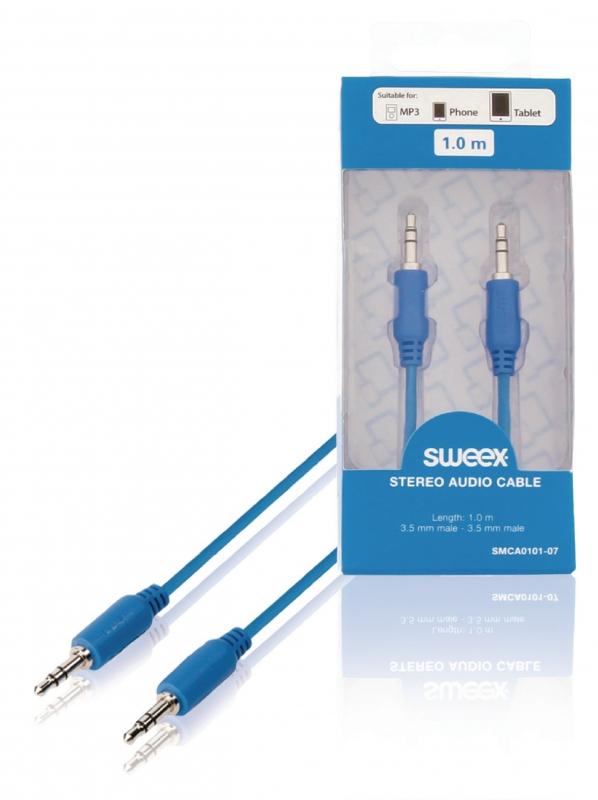 SWEEX Stereofonní audio kabel, 3,5mm zástrčka – zástrčka, 1 m, modrý