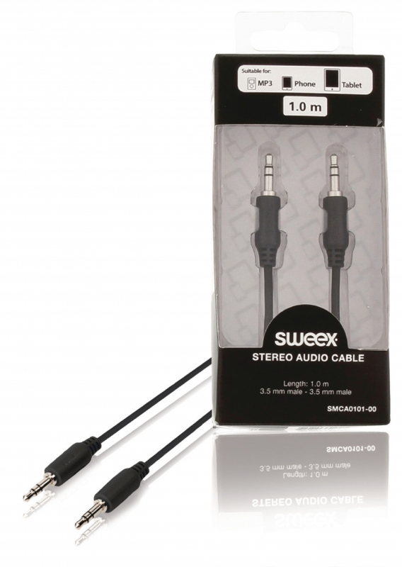 SWEEX Stereofonní audio kabel, 3,5mm zástrčka – zástrčka, 1 m, černý