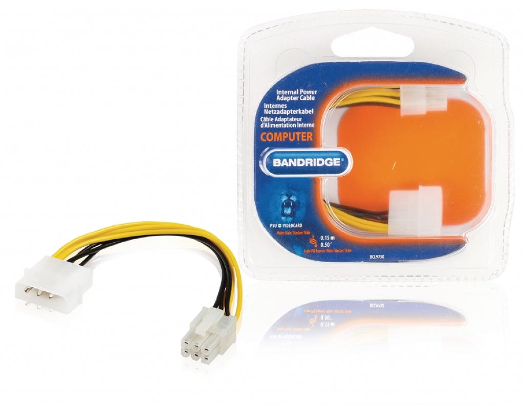 BANDRIDGE Redukční kabel interního napájení, zástrčka Molex - 6-pin konektor PCI Express, 0,15 m, více barev