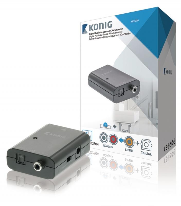 KoNIG Digitální audio na stereo RCA převodník, TosLink + S/PDIF zásuvka – 2x RCA zásuvka, tmavě šedá