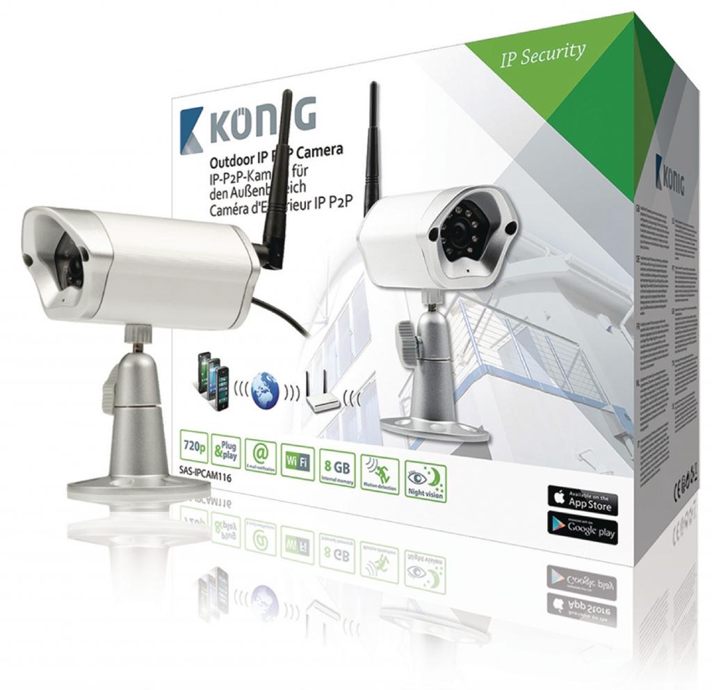 KoNIG Venkovní IP P2P kamera pro vzdálené sledování, IP66, černá