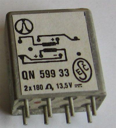 Relé QN59933 13,5V/0,067A bistabilní, Tesla Pardubice