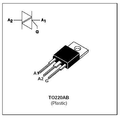 Triak BTA12-600B 600V/12A, Igt50mA TO220AB