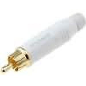 Zástrčka RCA vidlice přímý pájení IP40 bílá zlacený na kabel