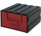 Modul se zásuvkou polypropylén 94x115x51mm červený