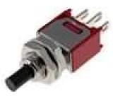 Přepínač tlačítkový bez aretace SPDT ON-(ON)