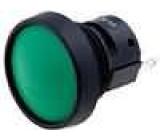 Přepínač tlačítkový bez aretace SPDT očka kulatý zelený