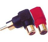 Redukce CINCH konektor/CINCH zdířka úhlová červená