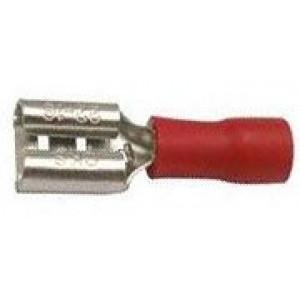 Faston-zdířka 6,3mm červená pro kabel 0,5-1,5mm2
