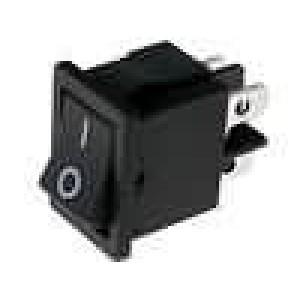Kolébkový spínač miniaturní 2x spín. ON-OFF 6A černý