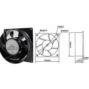 Ventilátor 170x170x51mm 230V/0,3A 2200 ot/min