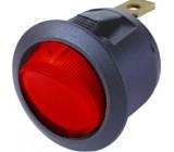 Spínač kolébkový kulatý 20A červený bez podsvícení