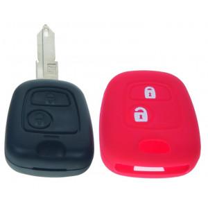 Silikonový obal pro klíč Peugeot, Citroën, 2-tlačítkový, červený