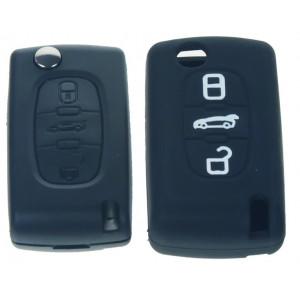 Silikonový obal pro klíč Peugeot, Citroën, 3-tlačítkový, černý