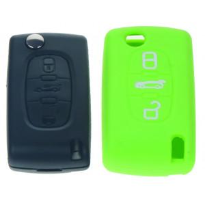 Silikonový obal pro klíč Peugeot, Citroën, 3-tlačítkový, zelený
