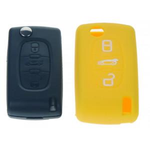 Silikonový obal pro klíč Peugeot, Citroën, 3-tlačítkový, žlutý
