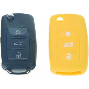 Silikonový obal pro klíč Škoda, VW, Seat 3-tlačítkový, žlutý