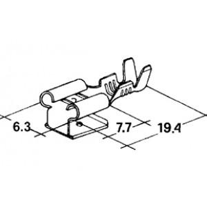 konektor 6,3mm dutinka + 6,3mm 1kolík 1-2,5mm