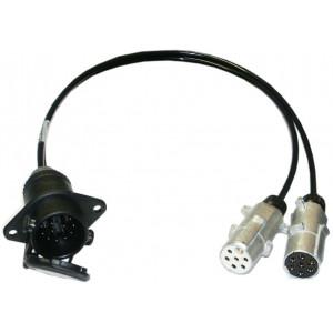 adaptér kabel rovný 24V z 15P na 2x7P zásuvku 1m