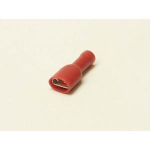 konektor 6,3mm 0,5-1,5mm dutinka celá izolovaná červená