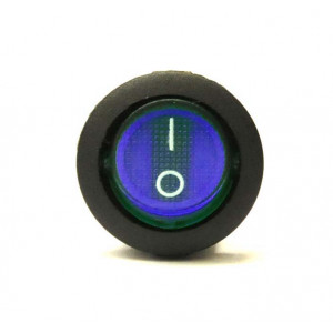 Přepínač podsvětlený kulatý 21mm modrý