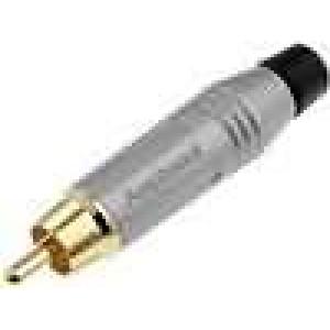 Zástrčka RCA vidlice přímý pájení IP40 šedá zlacený na kabel