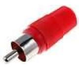Zástrčka RCA vidlice přímý pájení červená na kabel