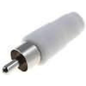 Zástrčka RCA vidlice přímý pájení bílá na kabel