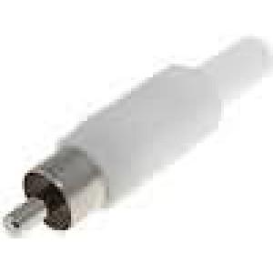 Zástrčka RCA vidlice s ochranou kabelu přímý pájení bílá