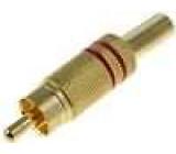 Zástrčka RCA vidlice s ochranou kabelu přímý pájení zlacený