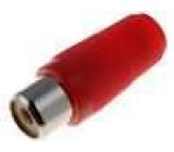Zástrčka RCA zásuvka přímý pájení červená na kabel