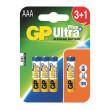 Alkalická baterie GP Ultra Plus LR03 (AAA), 3+1 ks v blistru