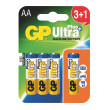 Alkalická baterie GP Ultra Plus LR6 (AA), 3+1 ks v blistru