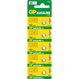 Alkalická knoflíková baterie GP LR41 (192), 5 ks v blistru