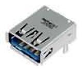 Zásuvka USB A na plošný spoj, zacvaknutí do PCB THT inverzní