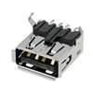 Zásuvka USB A SMT vodorovné V: USB 2.0 zlacený