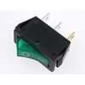 Kolébkový spínač miniaturní prosvětlený 1x spín. ON-OFF zelený