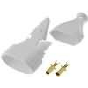 Síťová zásuvka na kabel plochá 2,5A/250V bílá